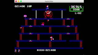 Donkey Kong AppleII (emulated) Gameplay #1: High Score 56,100