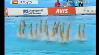 The Spanish synchronized swimming team won the gold medal at the Wo...