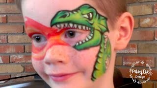 Fire breathing dragon face painting and highlighting tutorial