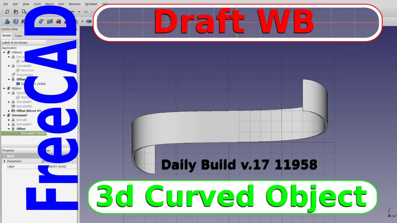 FreeCAD Tutorial - Draft Workbench and Extrude to make Curved Shapes