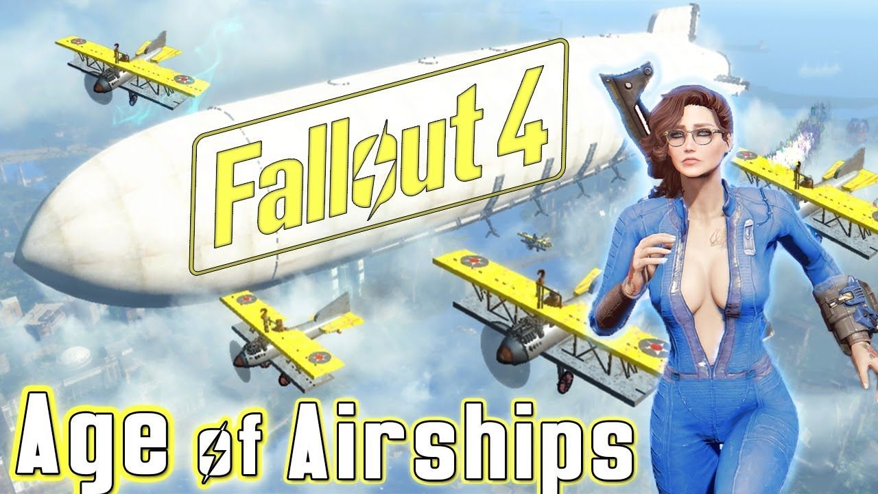Fallout 4 - AGE OF AIRSHIPS - Bioshock Infinite In Wasteland - IMPRESSIVE  AIRSHIP HOME (Xbox One/PC)