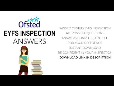 ANSWERS FOR OFSTED EYFS CHILDCARE INSPECTION 2019 CHILDMINDER (DOWNLOAD LINK)