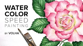 Как нарисовать розу акварелью / Watercolor rose(Где я училась рисовать - https://kalachevaschool.ru/courses?gcpc=4e9b0 http://kalachevaschool.ru/pl/39403?gcpc=4e9b0 Мой инстаграм ..., 2015-05-08T08:45:18.000Z)