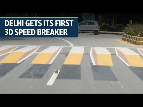 Delhi Gets Its First 3d Virtual Speed Breaker Youtube