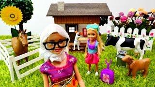 Fotoğrafçı Barbie! Chelsea barbie anneannesinin çiftlik evine gidiyor! Barbie köy hayatı oyunu!