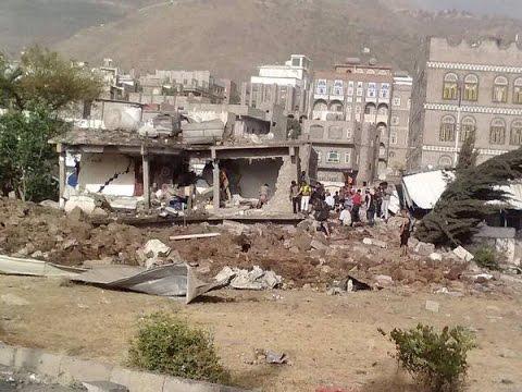 #Saudi airstrike that destroyed the Ibb #Football Stadium