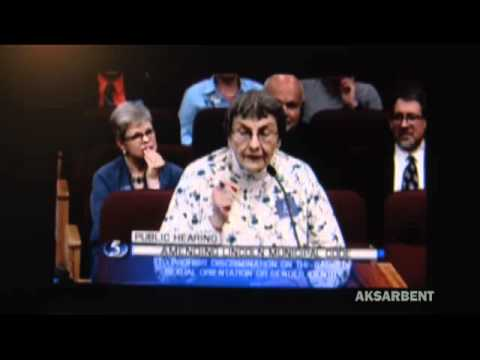 Lincoln, Nebraska LGBT hearing: the lady BEHIND hat lady has