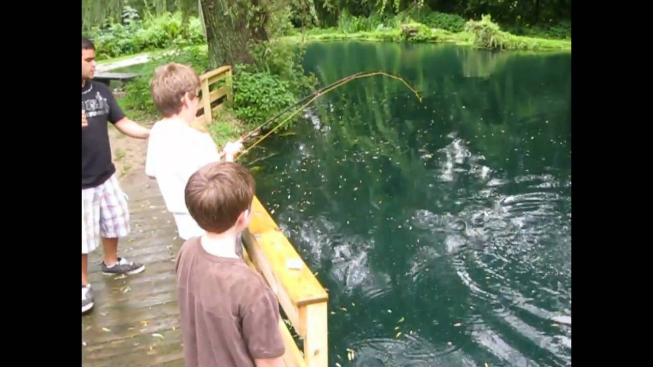 Kids catching big trout in summer camp anokijig 39 s for Fishing summer camp