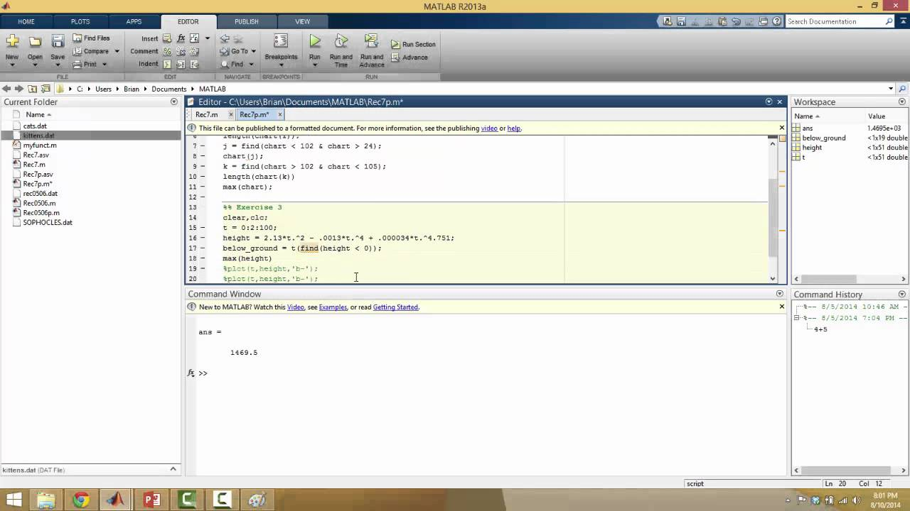 Matlab (find, piecewise functions)