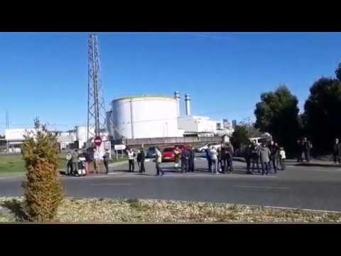 Los trabajadores de la auxiliares cortan el acceso a la térmica