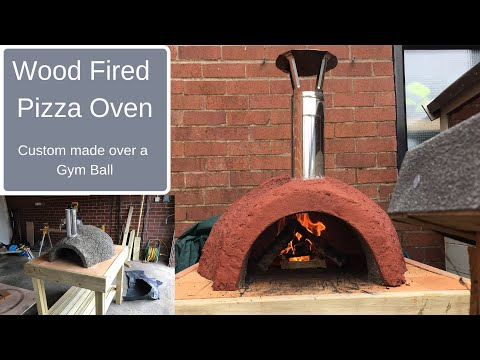 Wood Fired Pizza Oven made over a gym ball using Vermiculite and cement mix