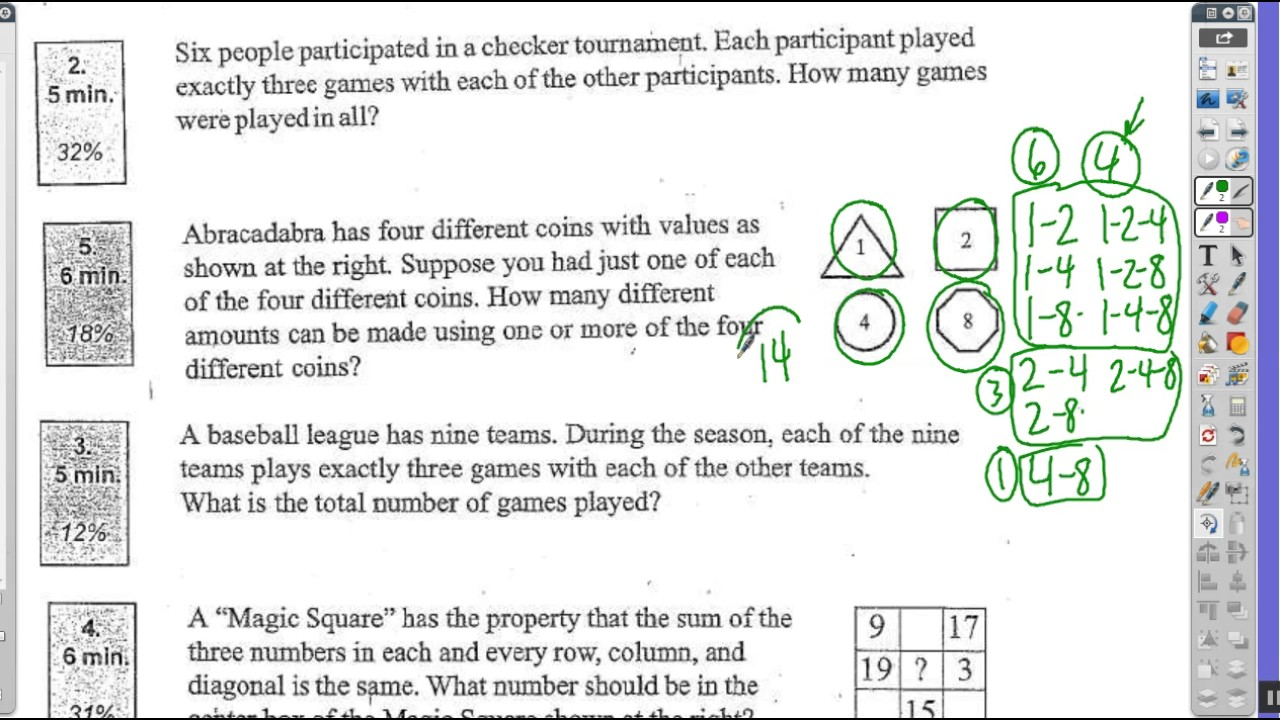 5th grade math Olympiad combinations part 2