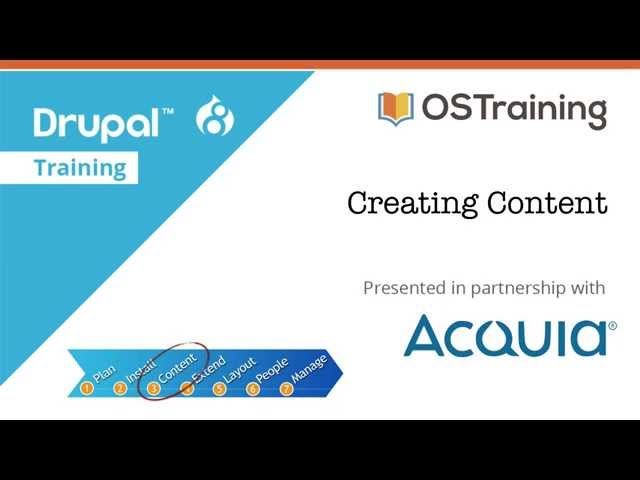 Drupal 8 Beginner, Lesson 30: Creating Content