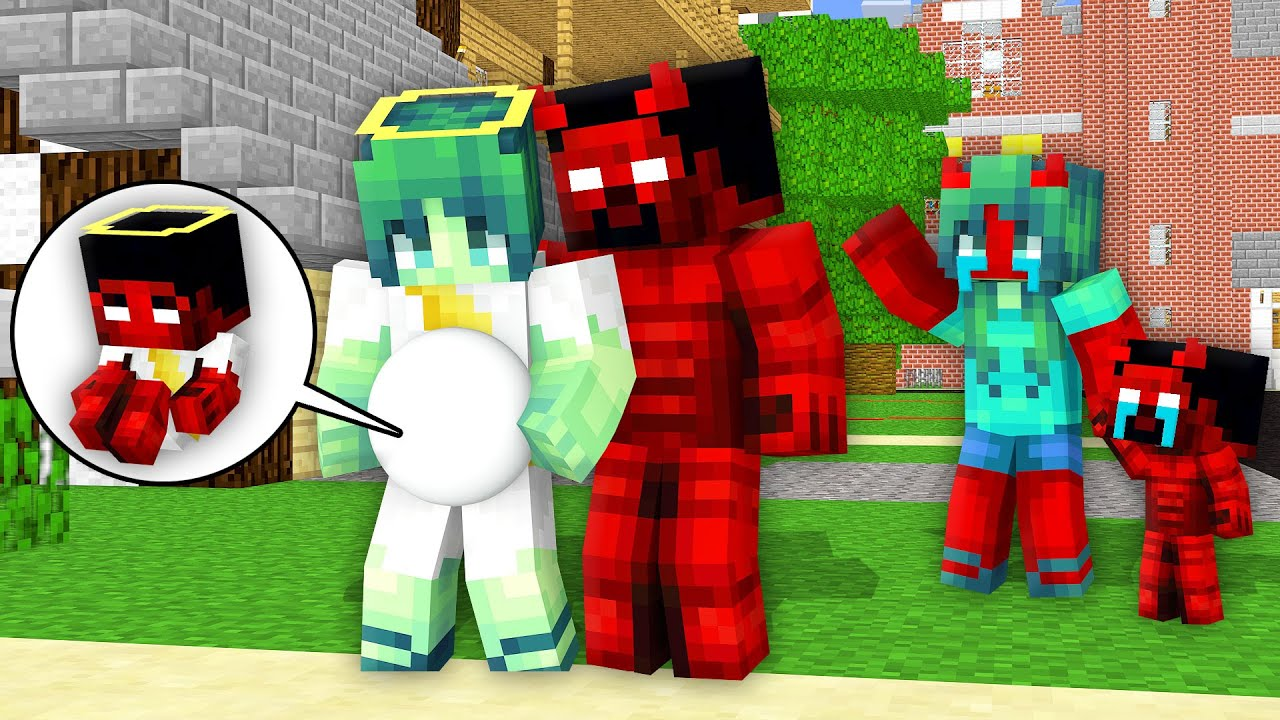 Monster School: New Family Devil Herobrine and Poor Life Zombie Baby Born - Minecraft Animation