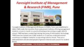 MBA Admissions in Foresight Institute of Management & Research FIMR, Pune 2015