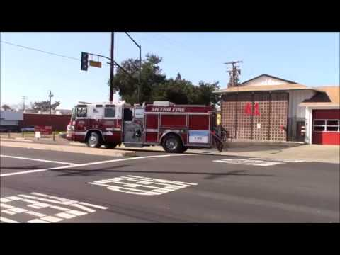 Sacramento Metro Fire District Engine & Medic 61 Responding Code 3 From Station & Returning