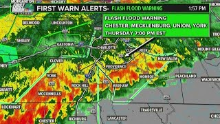 The entire charlotte area is under a flash flood warning after line of severe storms moved through region thursday morning. in effect un...
