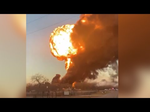 Watch: Huge fireball after train collides with truck in Texas