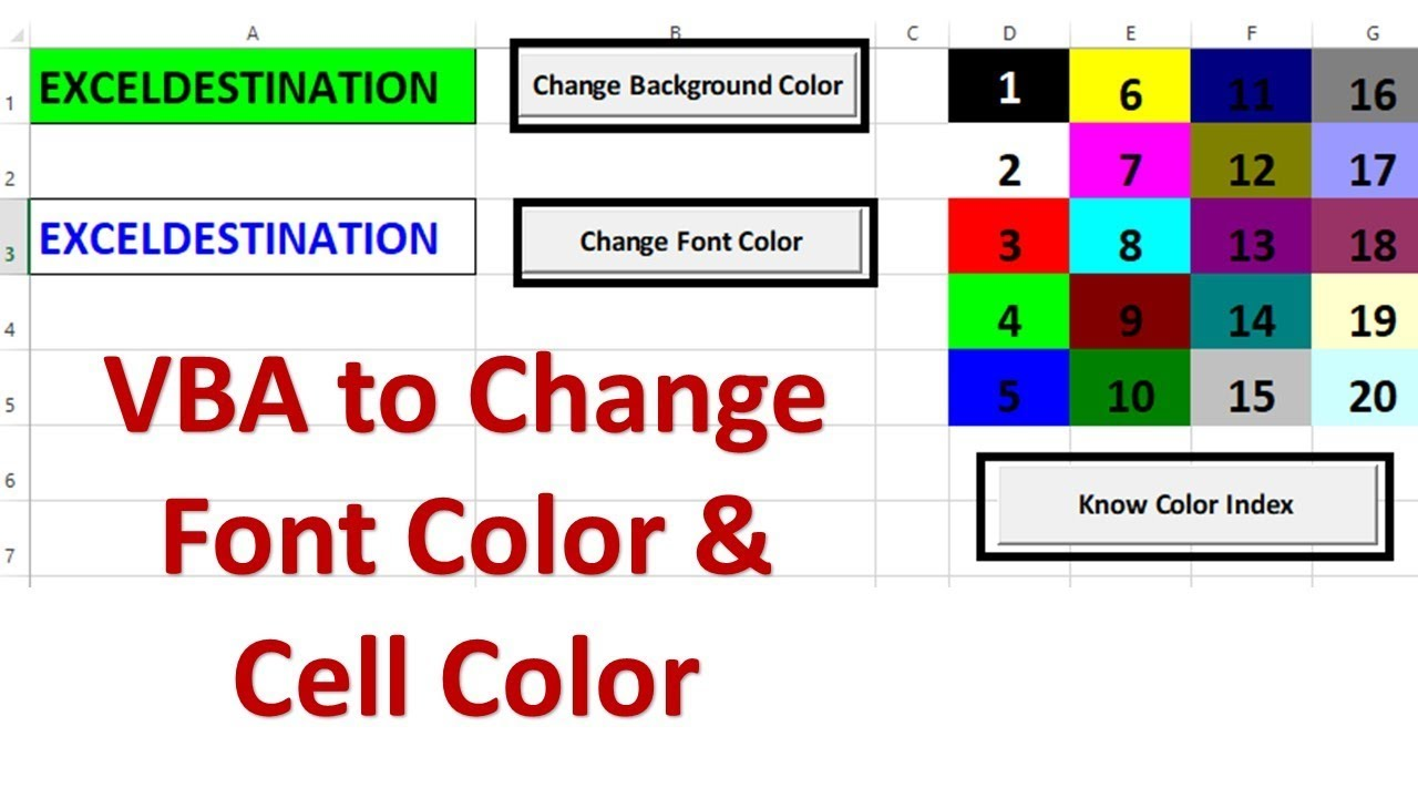 VBA to Change Cell Color and Font Color - Excel VBA Example