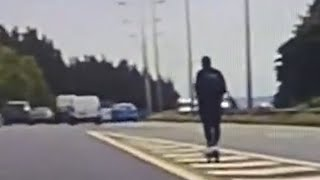 video: Watch: Man on e-scooter tries to join 70mph traffic on motorway
