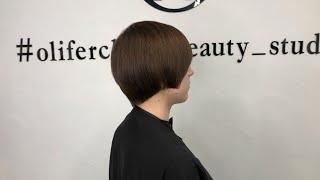 женская стрижка на короткие волосы. Техника квадратные слои. Обучающее видео.
