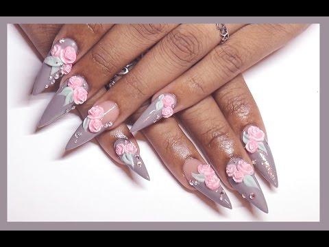 ✿ Gray + 3d Roses Acrylic & Gel Design ✿