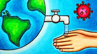 Coronavirus Awareness Poster Drawing | How to Draw Poster of Hand Washing Saves Lives from COVID-19
