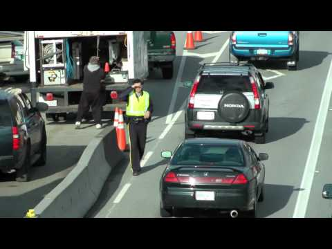 RCMP Police Hov Lane Check on Hwy #1 Burnaby, B.C. 03/09/2011