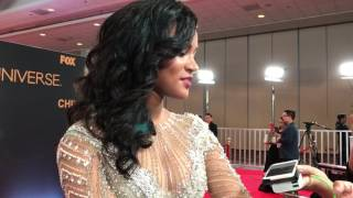 Miss Universe 2011 Leila Lopes answers questions at the 65th Miss Universe