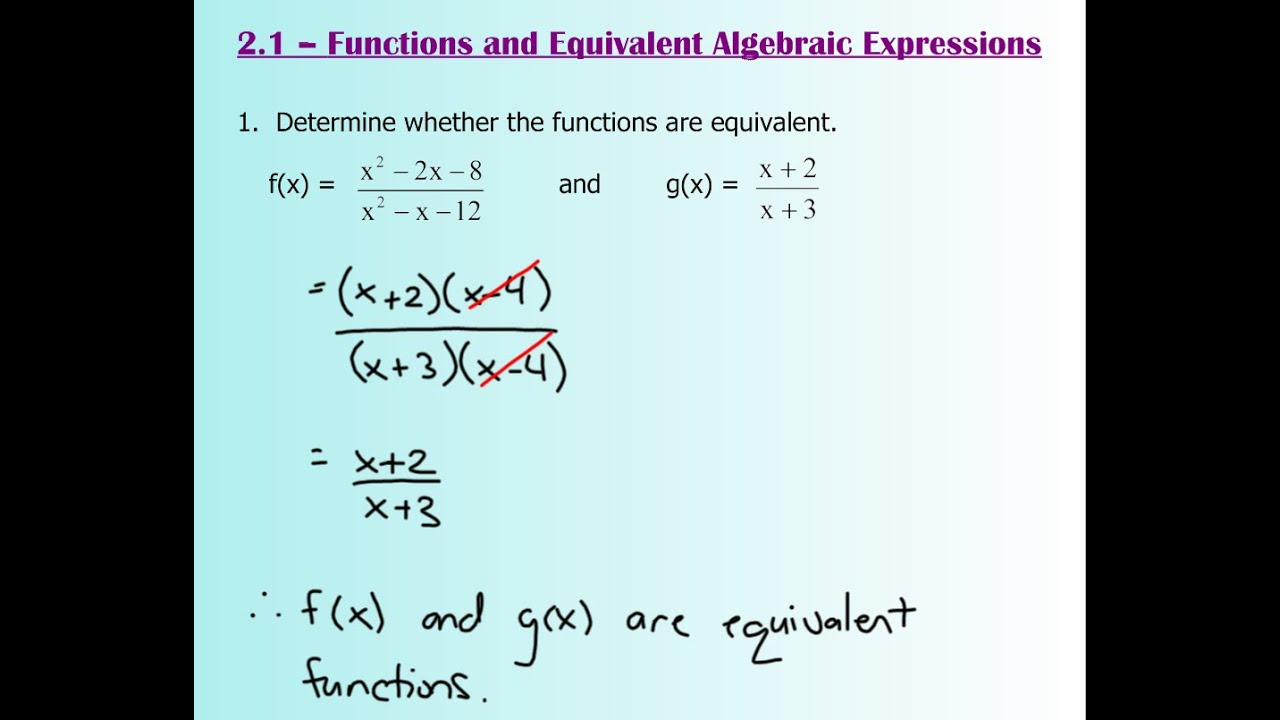 worksheet Algebraic Expressions 2 1 functions and equivalent algebraic expressions youtube expressions