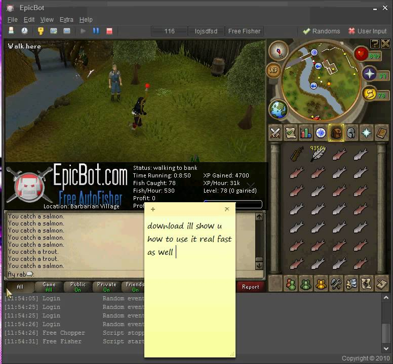 Runescape epic bot fisher best way to get 99 youtube for Runescape exp table 1 99