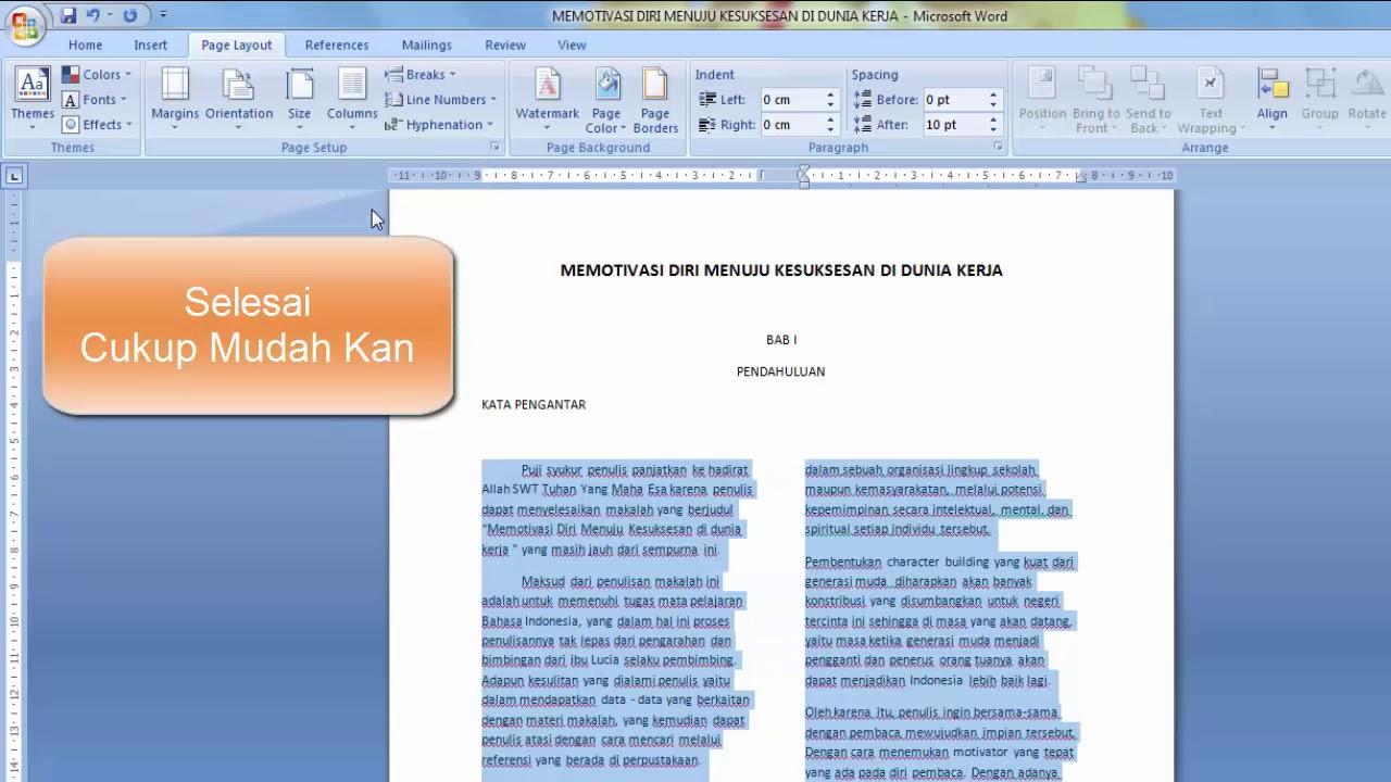 Cara Membuat 2 Kolom Tulisan Di Microsoft Word Youtube