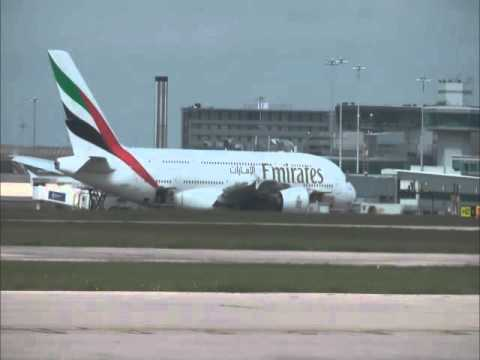 Emirates A380 (Timelapse) Manchester Airport ATC air traffic control radio turnaround
