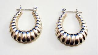 Sterling Silver 925 Shrimp Hoop Pierced Earrings