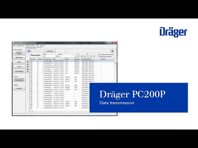 Data transmission from measuring instrument to PC200P