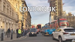 London 4K - Sunset Drive - Driving Downtown - Central London England
