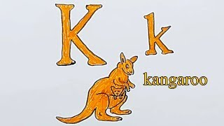 Learn alphabetically and draw the letter K | kangaroo