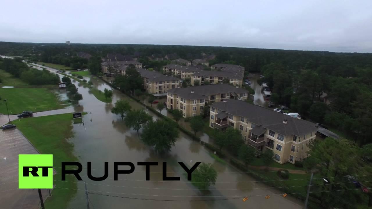Беспилотник заснял наводнение в Техасе