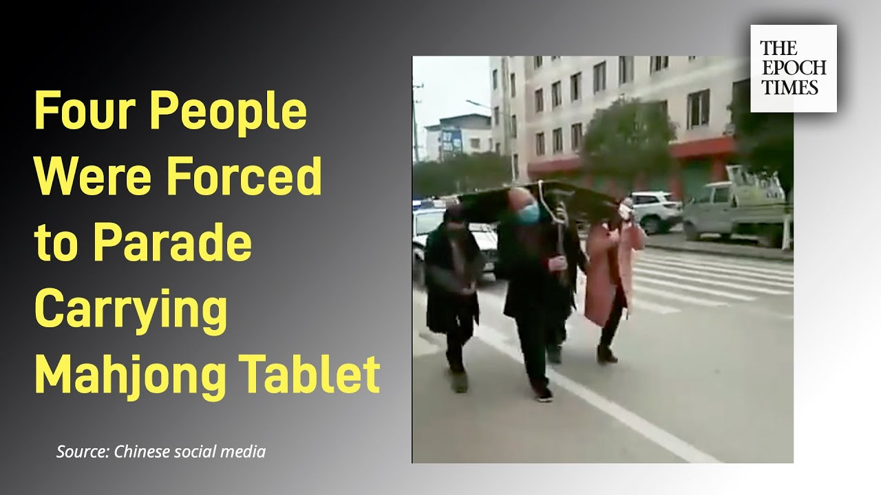 Four people who played Mahjong together were forced to parade on the street carrying the tablet - Ep