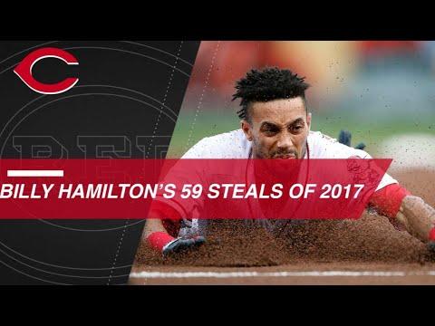 Billy Hamilton's 59 stolen bases in 2017