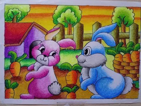 How to Draw | Cara Mewarnai Gradasi  Crayon / Oilpastel : Bunny