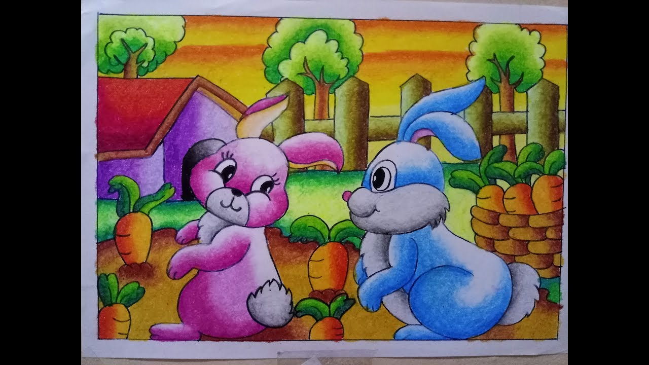 How To Draw Cara Mewarnai Gradasi Crayon Oilpastel Bunny Youtube