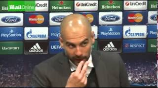 PEP TALK Guardiola loses it with journalist after United draw