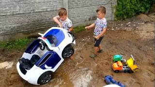 Kid games with toys and mud fun kids play