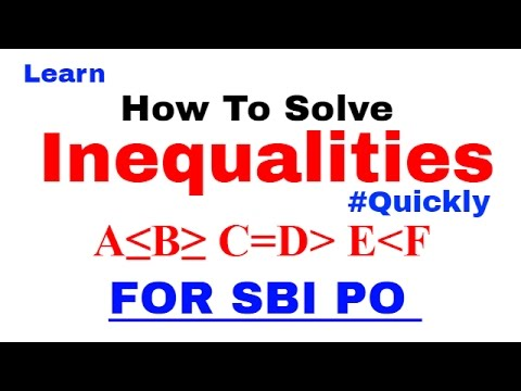 Inequalities in Reasoning Tricks For SBI PO , IBPS & SSC CGL [In Hindi] Part 1