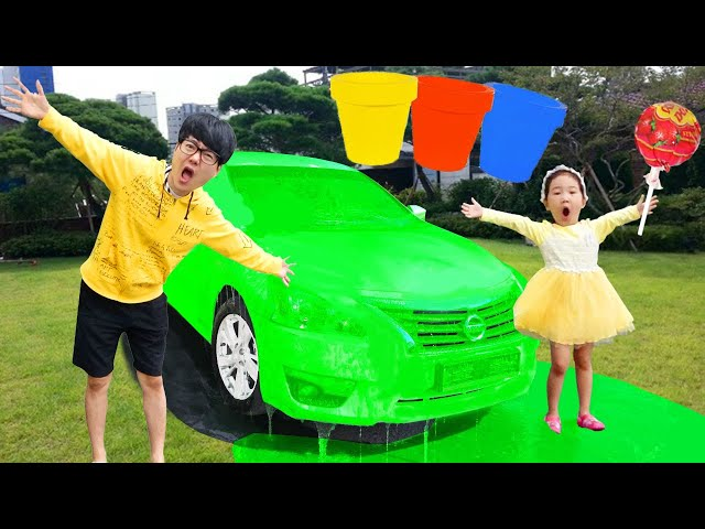 Boram and dad are preparing colored car