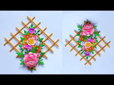 DIY FLOWER WALL HANGING | HIASAN DINDING DARI KERTAS | WALL DECORATION