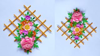 DIY FLOWER WALL HANGING | HIASAN DINDING DARI KERTAS | WALL DECORATION