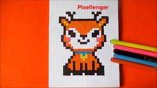 Как нарисовать Олененка по клеточкам в тетради  How to draw a Fawn Deer Pixel Art