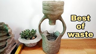 How to make amazing cemented waterfall fountain water fountain best of waste